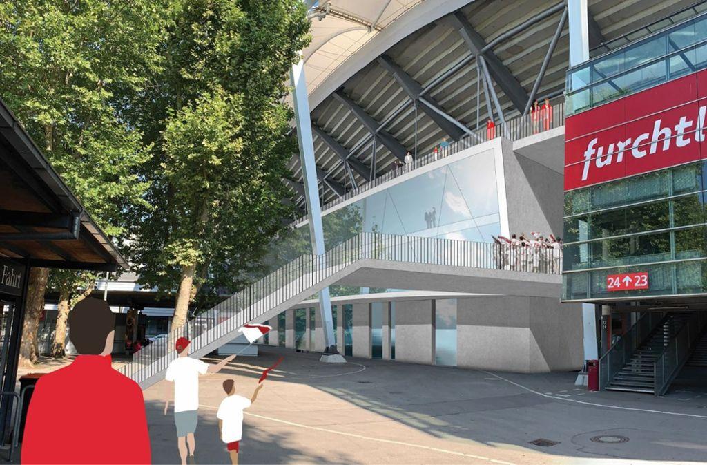 So stellt sich der VfB die neue Haupttribüne in der Mercedes-Benz-Arena vor. Foto: asp-Architekten/Julia Rahn