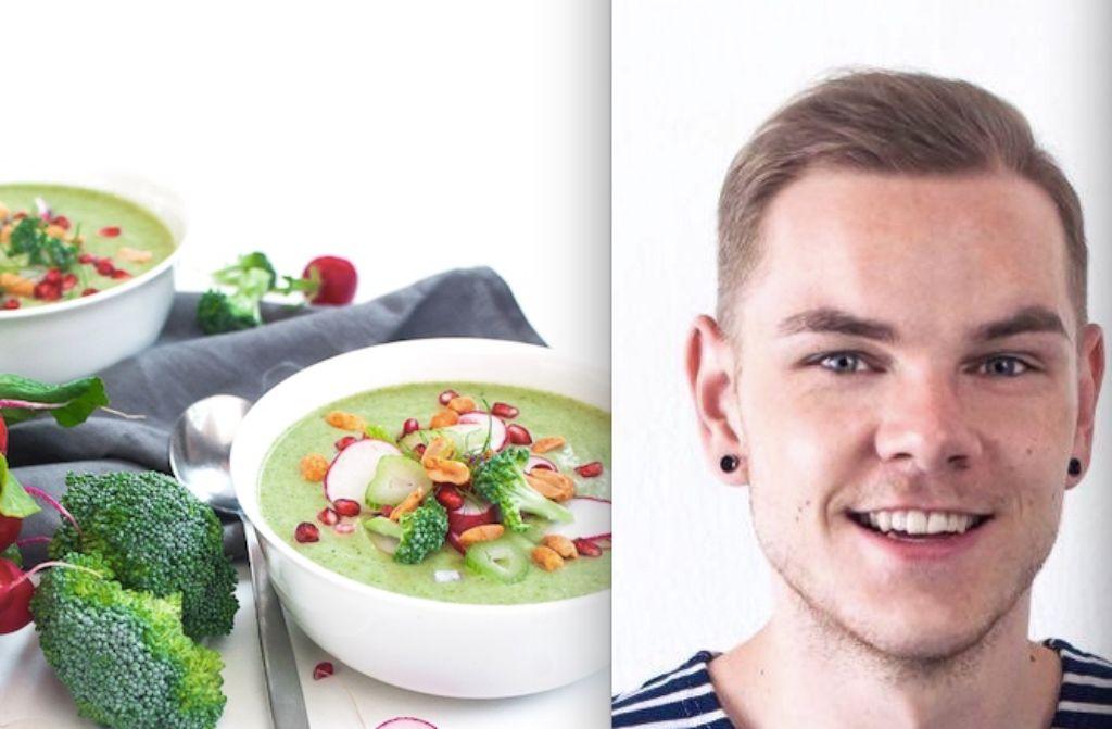 Foodblogger Marcel Buchstaller will mit seiner Brokkoli-Fenchel-Suppe nicht nur für warme Gedanken sorgen.  Foto: Voll gut & gut voll