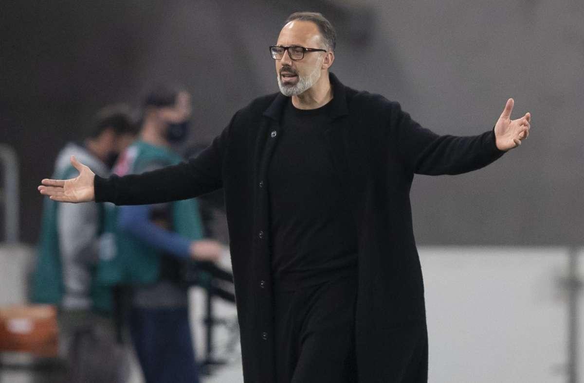 Pellegrino Matarazzo und der VfB Stuttgart haben gegen den VfL Wolfsburg 1:3 verloren. Foto: dpa/Tom Weller