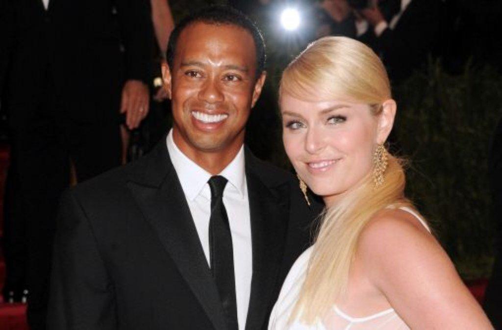 Tiger Woods und Lindsey Vonn - das neue Traumpaar des Sports bei ihrem ersten gemeinsamen Auftritt. Foto: AP/dpa