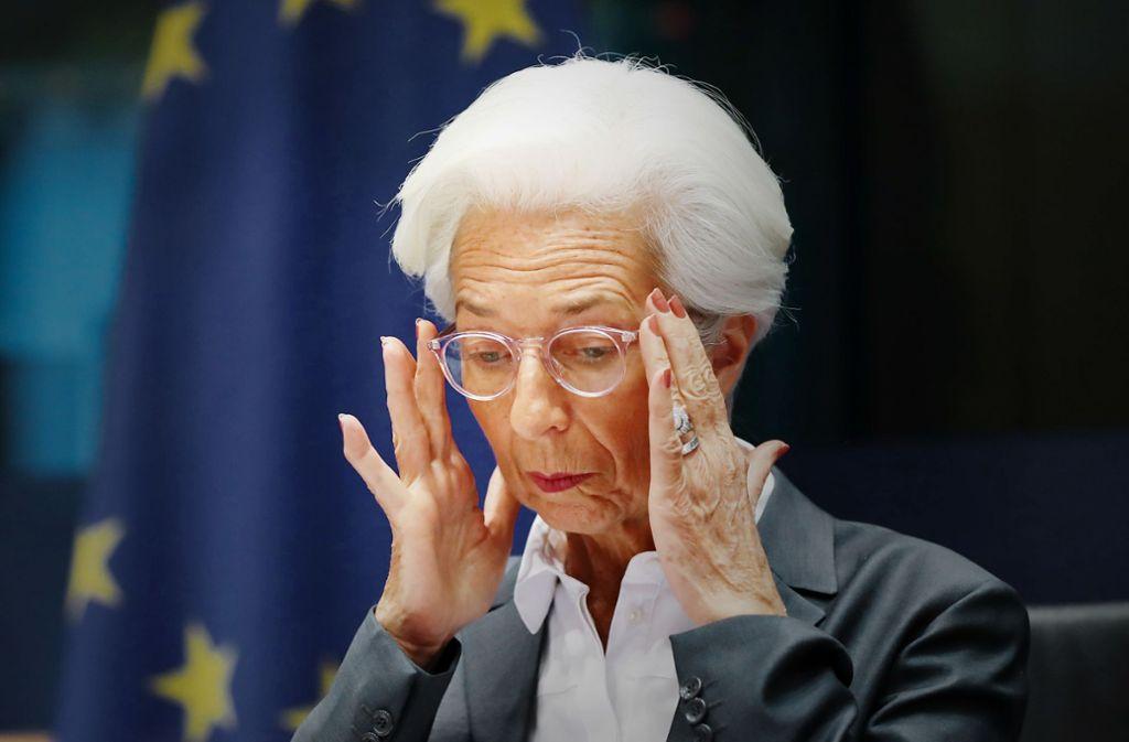 Im EU-Parlament musste sich EZB-Chefin Lagarde Fragen zum  Klimaschutz stellen Foto: dpa/Zhang Cheng