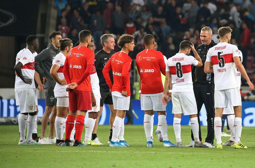 Der VfB Stuttgart freut sich über den Sieg gegen Bochum. Foto: Pressefoto Baumann