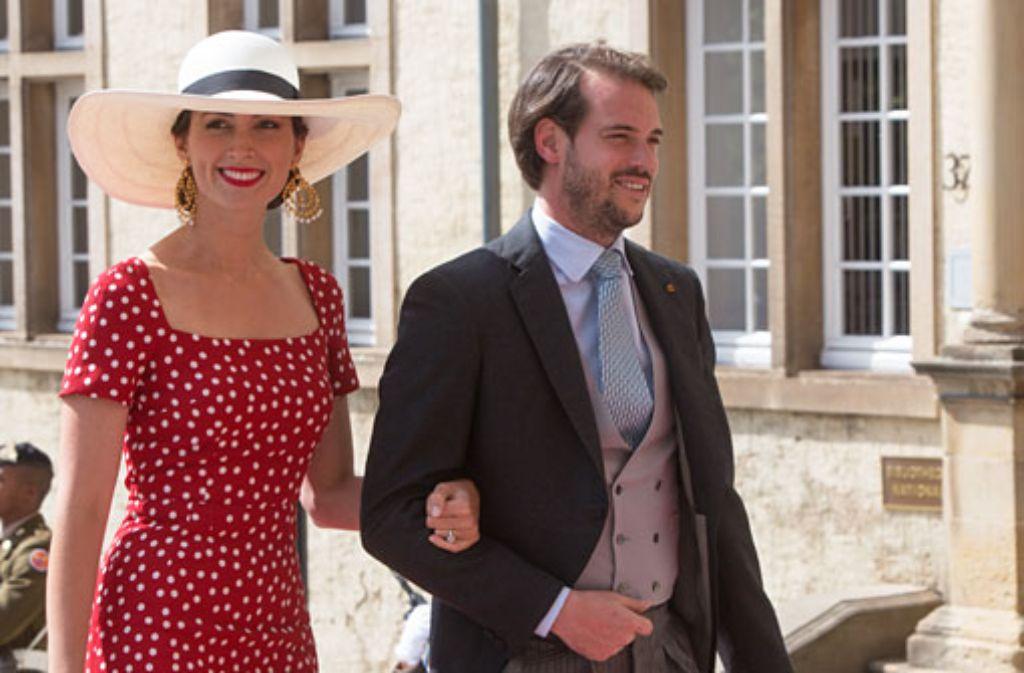 Im roten Kleid ein Hingucker: Prinzessin Claire und ihr Mann, Prinz Félix von Luxemburg Foto: Getty Images