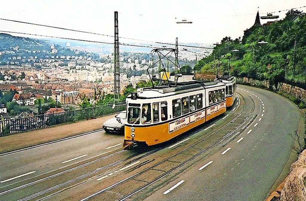 Bis 1987 fuhrt die Straßenbahn auf der Neuen Weinsteige, Foto: Thomas Mack