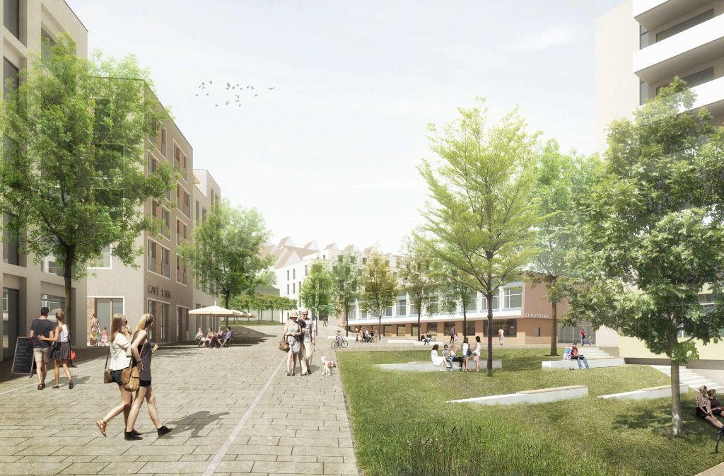 So stellen sich die Architekten Pech partner das neue Quartier auf dem ehemaligen Areal des Bürgerhospitals vor. Foto: Pesch Partner Architekten Stadtplaner GmbH