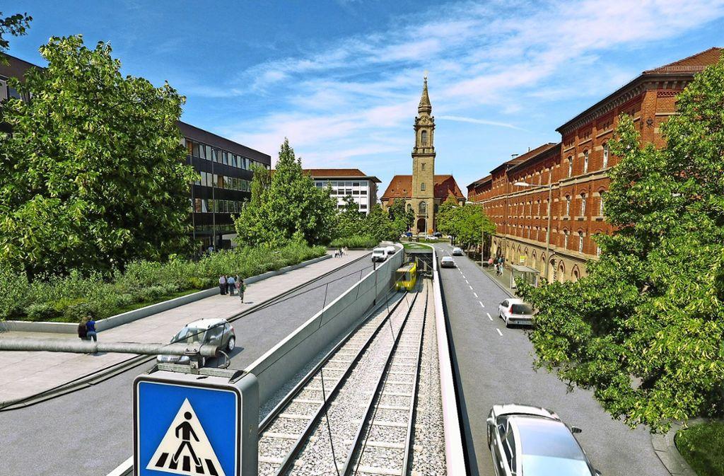 Mit einem Tunnel für die SSB-Stadtbahn will der Landrat Rainer Haas die Stuttgarter Straße in Ludwigsburg unterqueren. Foto: Landratsamt