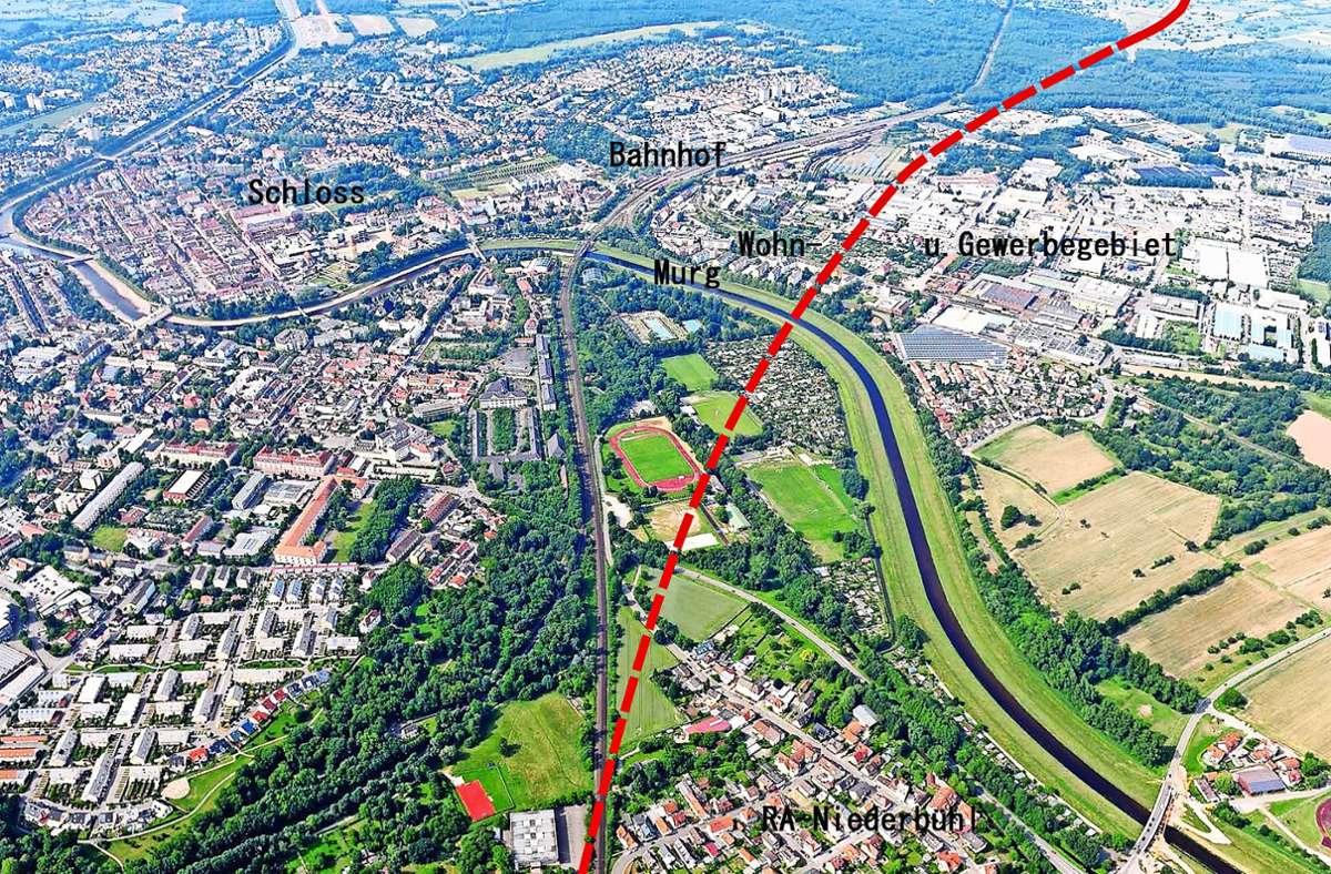 Auf der eingezeichneten Trasse soll der Tunnel verlaufen. Foto: Deutsche Bahn