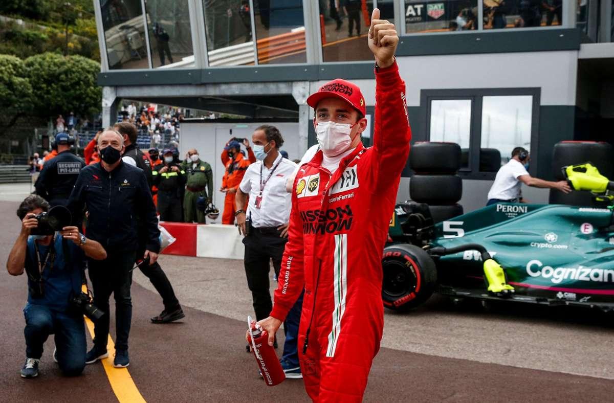 Charles Leclerc hat sich die Pole Position in seinem Heimrennen in Monte Carlo gesichert. Foto: AFP/SEBASTIEN NOGIER