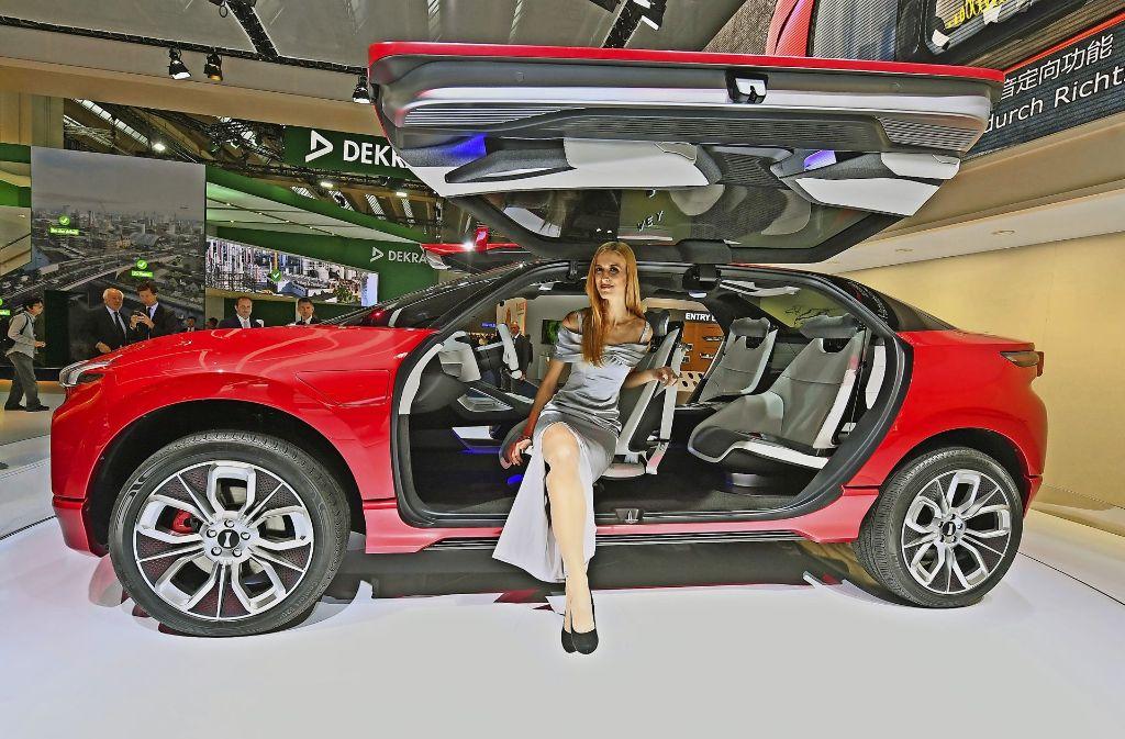 Die Marke Wey präsentiert in Frankfurt ein futuristisches Elektroauto, das  es jedoch noch nicht zu kaufen gibt. Foto: dpa