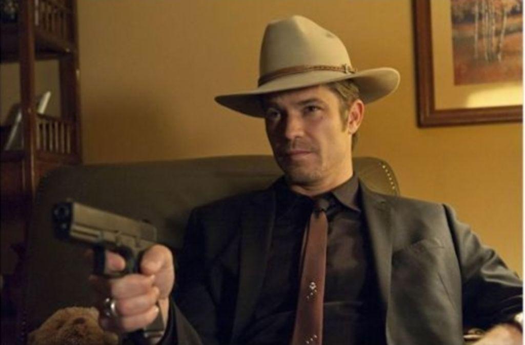"""Marshal Raylan Givens, den Timothy Olyphant  in der TV-Serie """"Justified"""" verkörpert, ist eine Erfindung Elmore Leonards. Jetzt kehrt der Autor zu ihm zurück. Foto: Sony Pictures HE"""