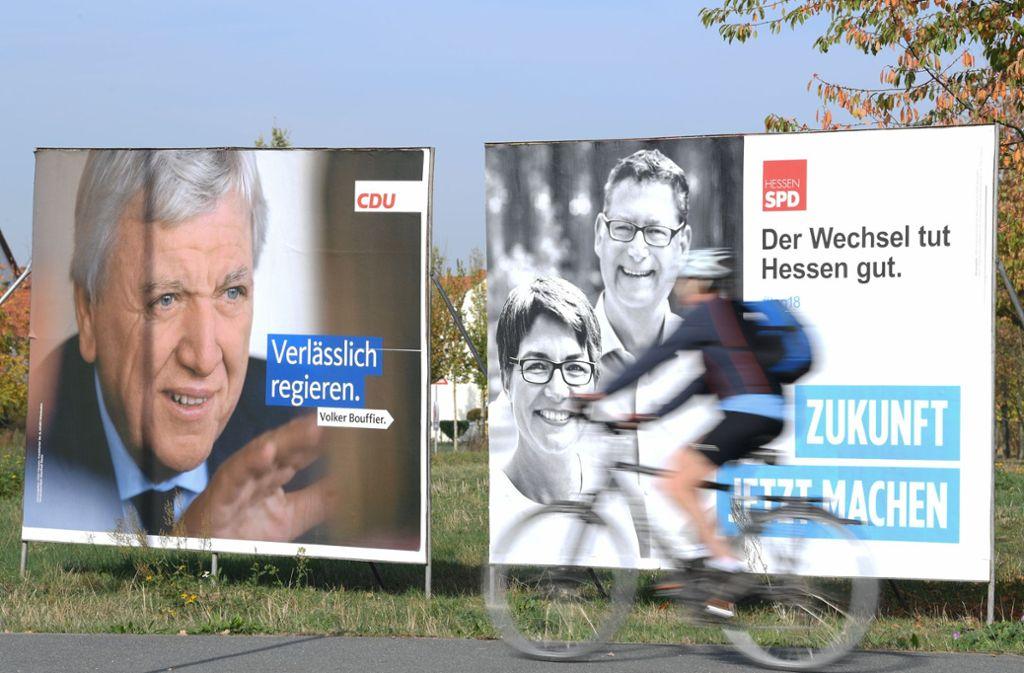 SPD und CDU müssen bei der Landtagswahl in Hessen voraussichtlich deutliche Einbußen verkraften. Foto: dpa