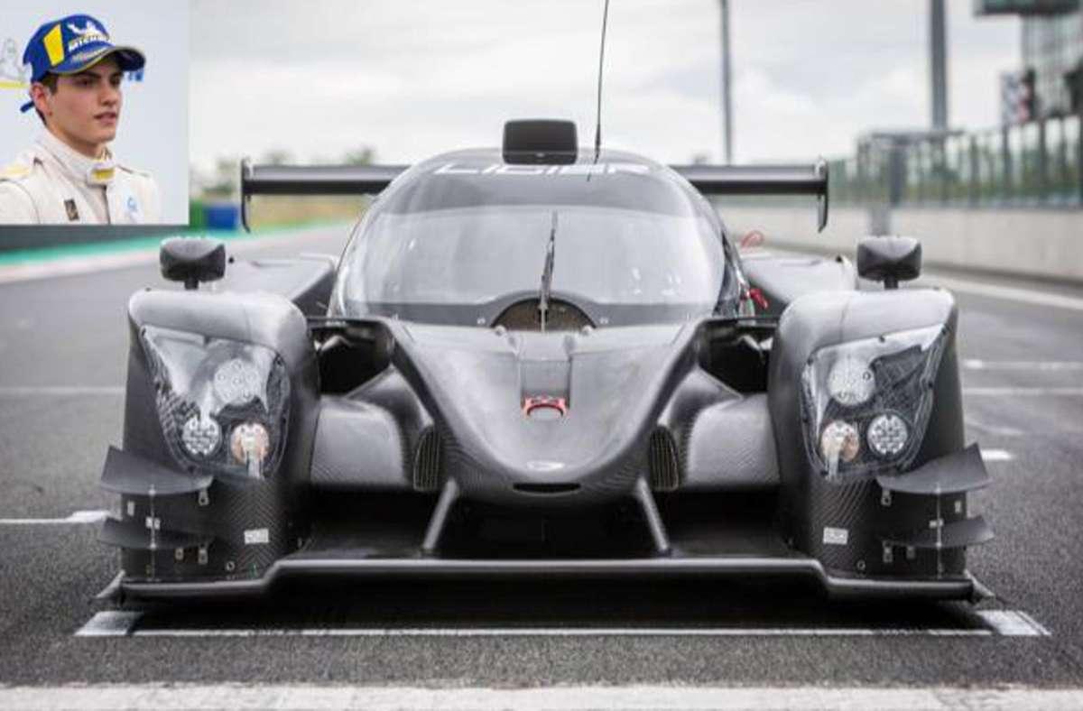 Donar Munding und sein neuer Dienstwagen Ligier JS P320, der 455 PS leistet und es auf 290 km/h bringt – weil dann ein Geschwindigkeitsbegrenzer eingreift. Foto: privat