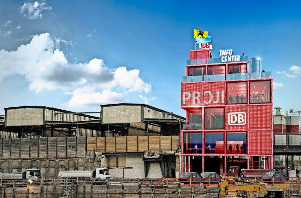 Die neue  S-21-Ausstellung soll laut Entwurf direkt an den heutigen Gleisen und dem Baufeld für den künftigen Bahnhof liegen. Foto: Entwurf/Visualisierung: Heller Designstudio & Partner