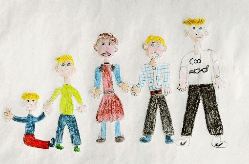 Ein Nachbarskind hat die Familie gemalt: Justin, Jerry, Mama Melanie, Papa Andreas und Sohn Felix. Foto: Lichtgut/Verena Ecker
