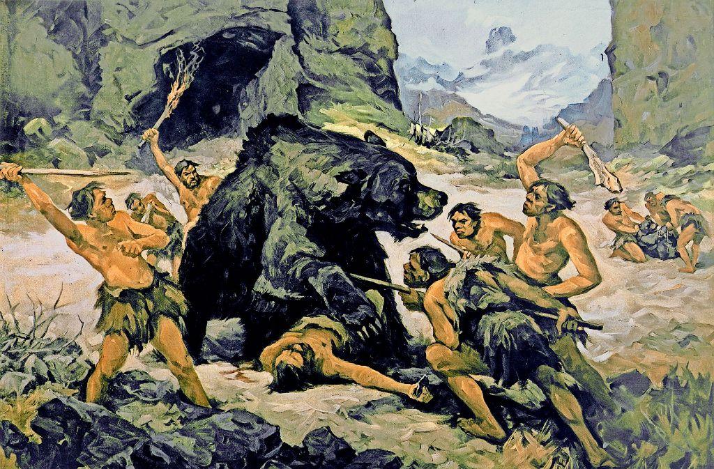 Urmenschen bei der Höhlenbärenjagd: Schulwandbild des österreichischen  Landschafts- und  Tiermalers Franz Roubal von 1937 Foto: Picture Alliance, dpa