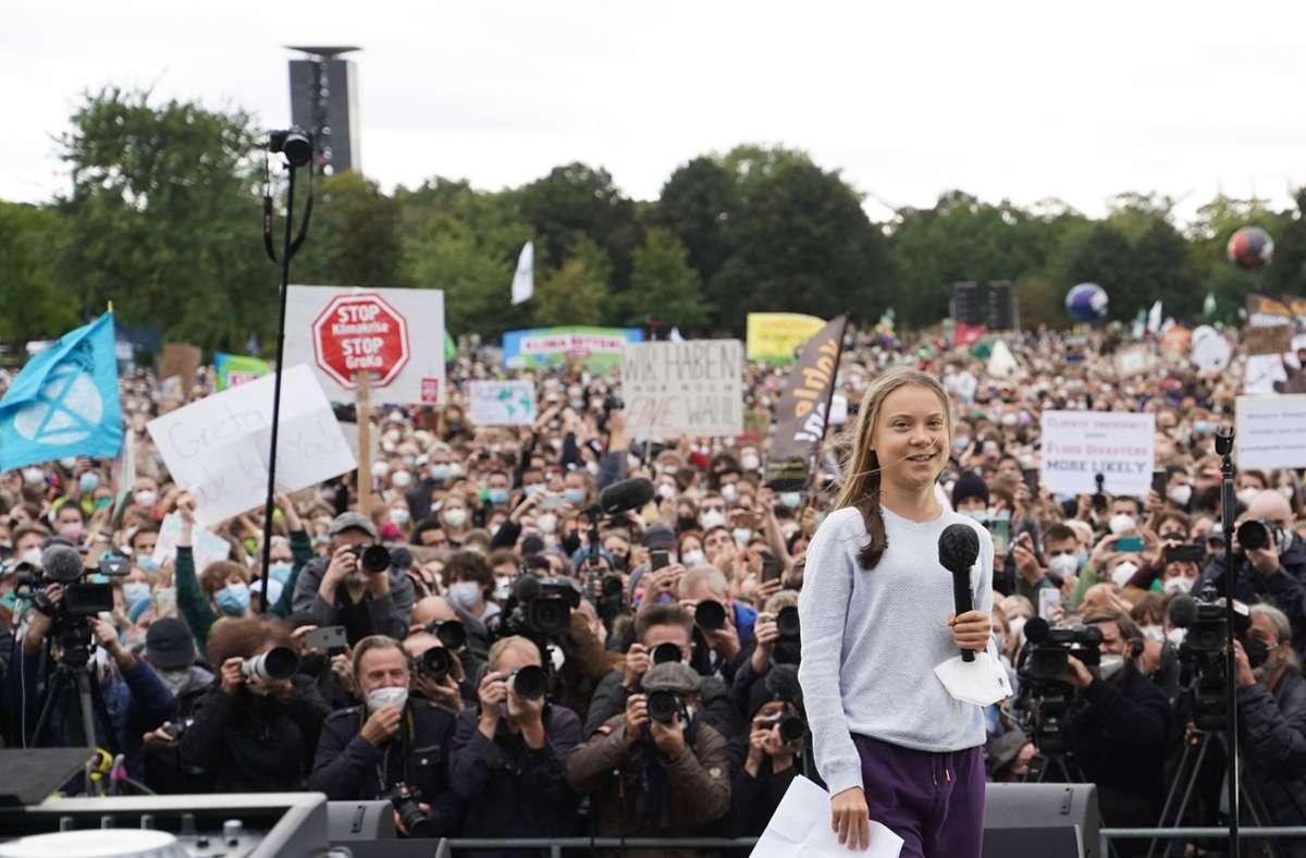 Klimaaktivistin Greta Thunberg bei dem Klimastreik in Berlin Foto: dpa/Jörg Carstensen
