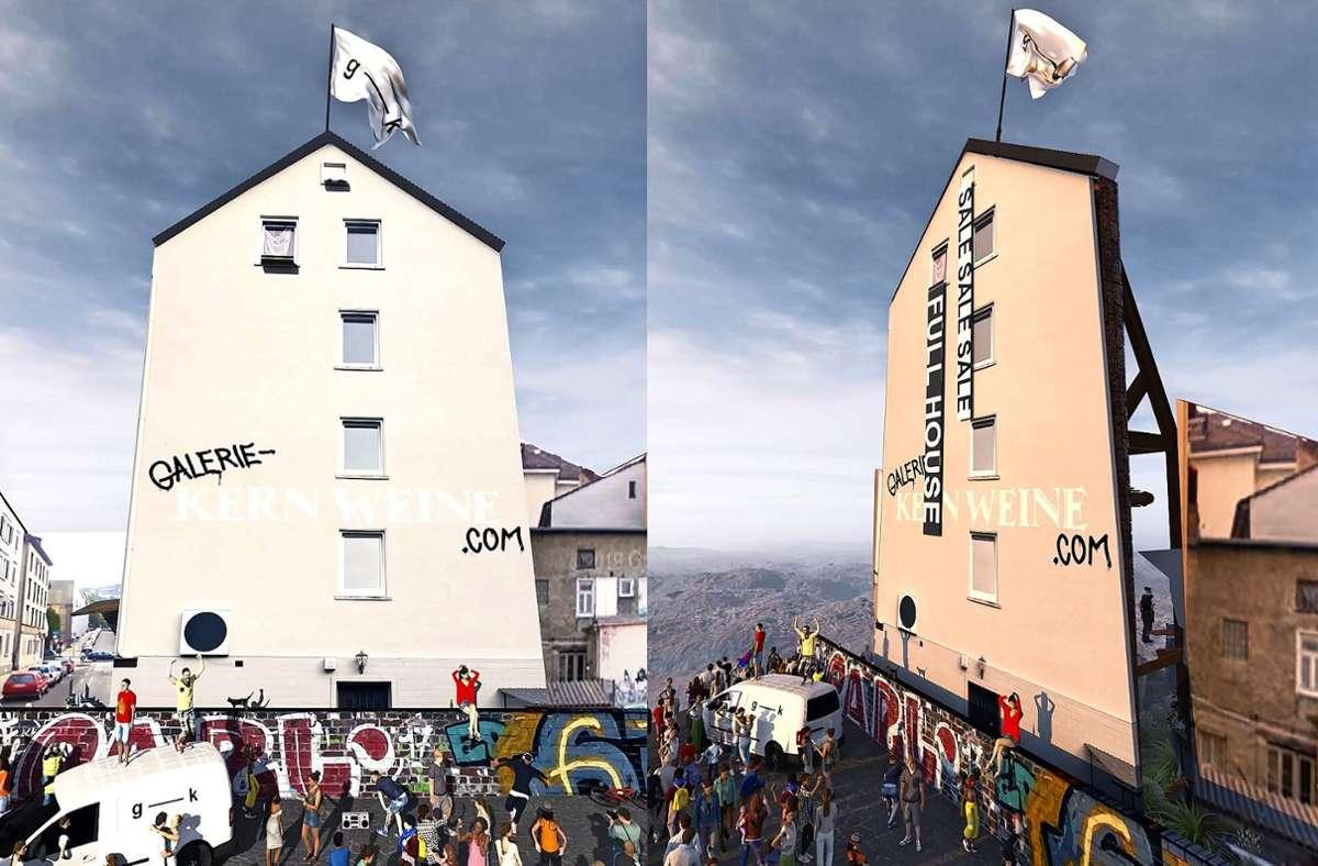 Das erste NFT-Kunstwerk der Galerie Kernweine ist ein Video. Hier zwei Fotos daraus. Foto: Nasty Files/Galerie Kernweine