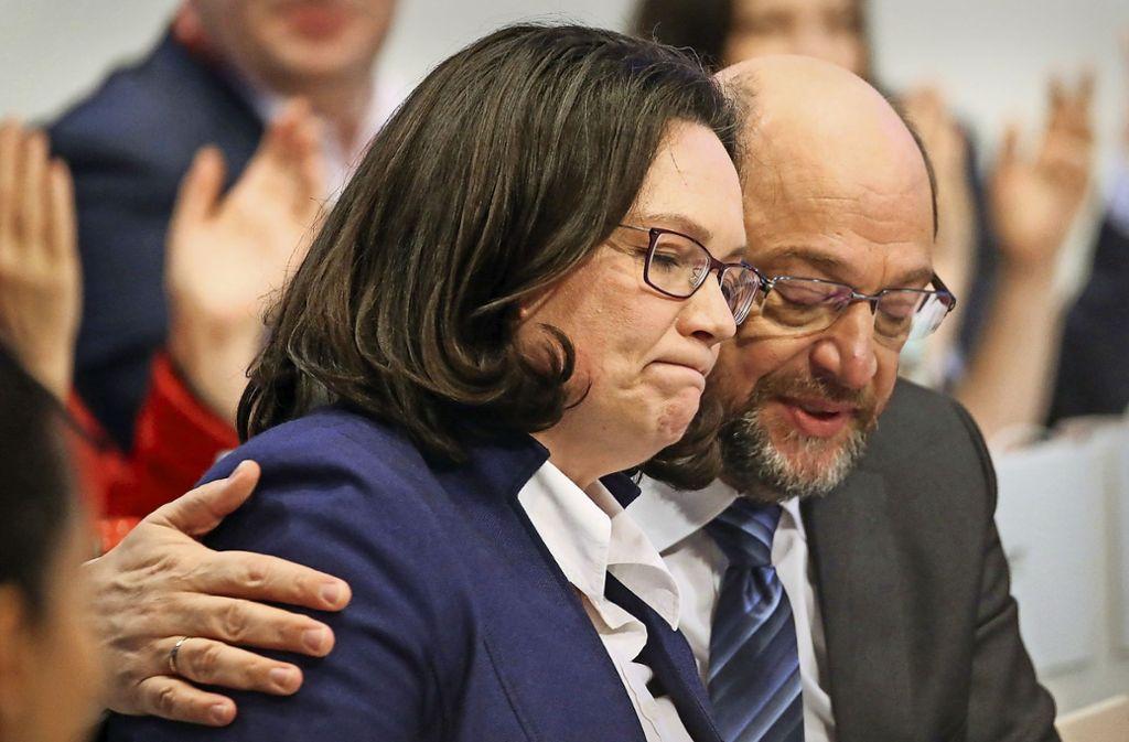 Andrea Nahles wird wohl schneller Nachfolgerin von Martin Schulz als gedacht. Foto: dpa