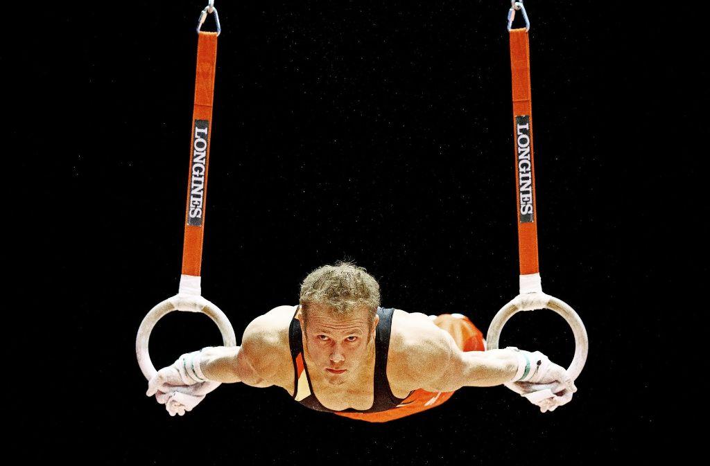 Ein Bild aus der Vergangenheit: Fabian Hambüchen an den Ringen – der Turn-Olympiasieger hat seine internationale Karriere beendet. Foto: dpa