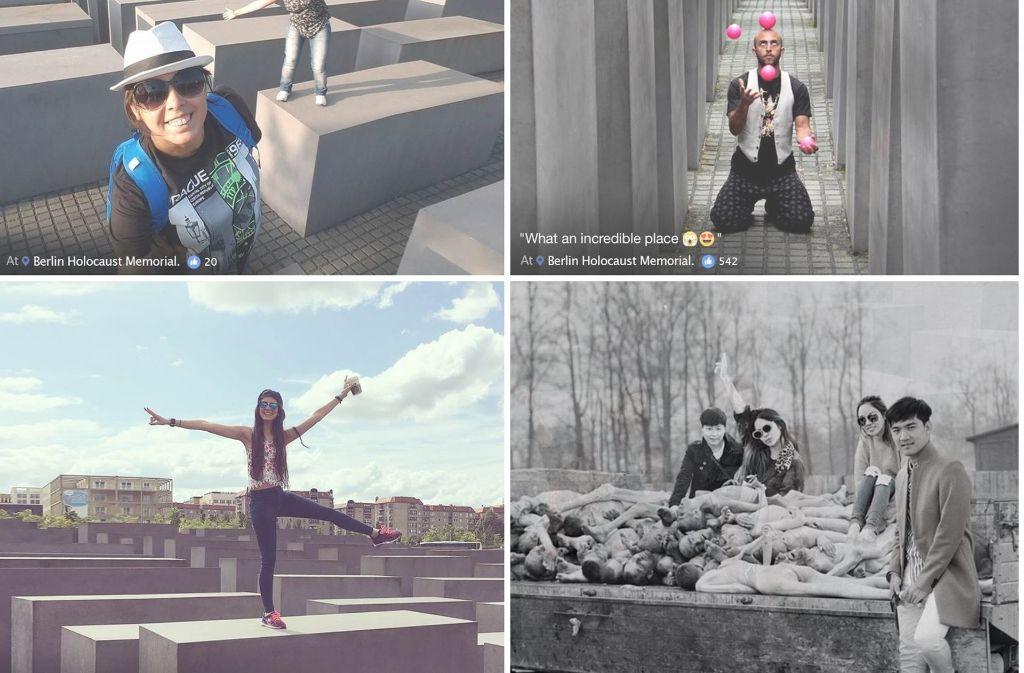 Jonglieren, posen oder einfach herumalbern – die Selfies der Touristen hat Shahak Shapira für sein Online-Projekt umgearbeitet. Aus fröhlichen Selfies entstehen so verstörende Bilder, wie das rechts unten. Foto: yolocaust.de/Shahak Shapira/ Screenshot