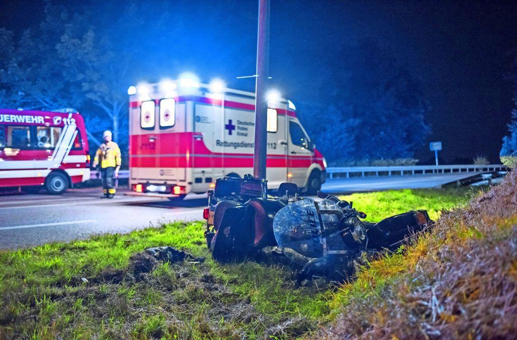 Fellbach, 10. Juni 2017: Ein Motorradfahrer stirbt nach einem Unfall. Der 42-Jährige war im vergangenen Jahr einer von vier toten Bikern im Rems-Murr-Kreis. Foto: Archiv (7aktuell/Eyb)