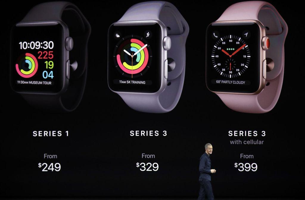 Die unterschiedlichen Modelle der neuen Apple Watch. Foto: AP