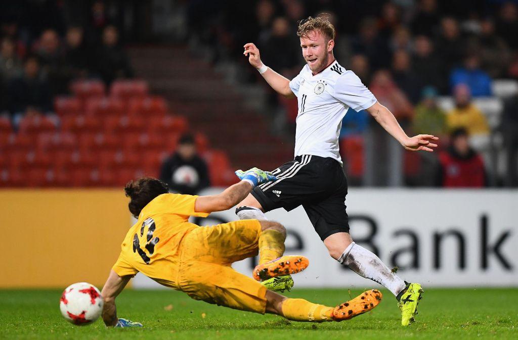 Cedric Teuchert (1. FC Nürnberg) erzielte das 6:0 für den DFB-Nachwuchs. Foto: Bongarts