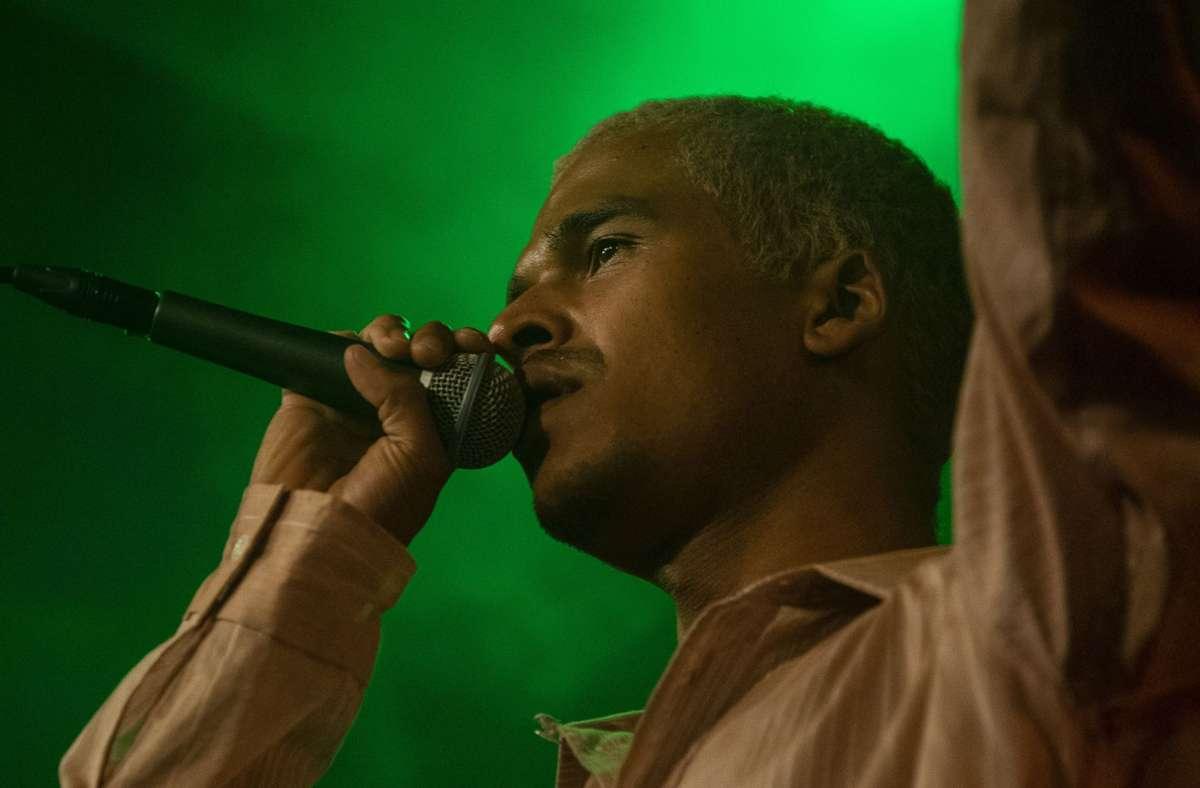 Noah Kwaku alias Nopé am Samstagabend im Stuttgarter Kulturzentrum Merlin. Weitere Bilder zeigt die Fotostrecke. Foto: Jan Georg Plavec