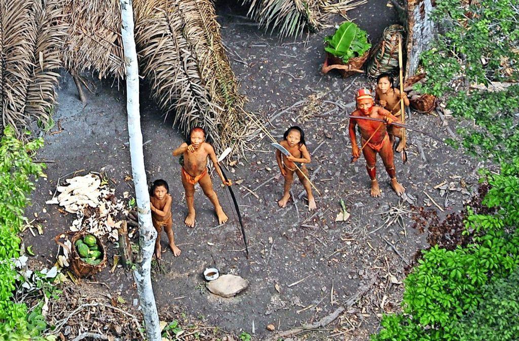 Dieses Foto zeigt fünf Mitglieder einer unkontaktierten indigenen Gruppe, die im brasilianischen Amazonas-Gebiet  von einem Flugzeug aufgenommen worden ist. Foto: dpa