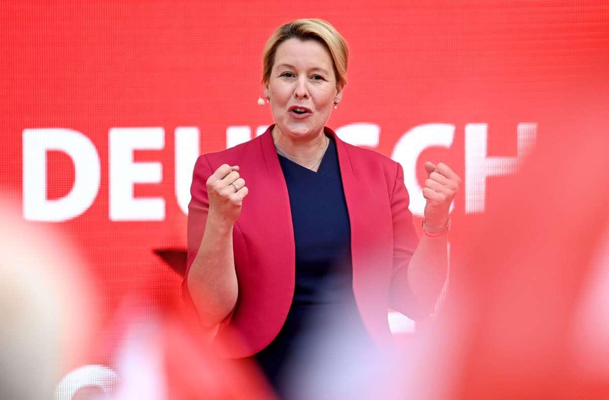 Wird sie neue Regierende Bürgermeisterin von Berlin? In den Umfragen liegt Franziska Giffey (SPD) vorne. Foto: dpa/Britta Pedersen