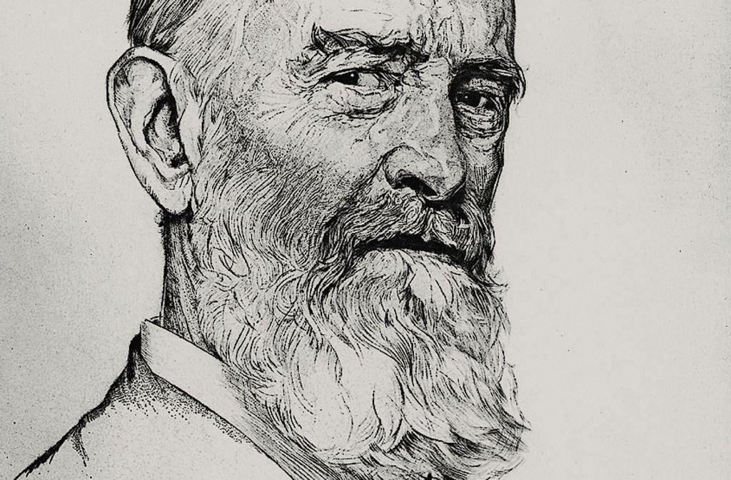 """Die dem Buch  vorangestellte Zeichnung verdeutlicht  das Wesen von Robert Bosch, der mit dem skeptisch-distanzierten Blick des Älblers  auf  sein Gegenüber blickt und fragt, ob der """"au ebbes daugt"""" Foto: Verlag C. H. Beck"""