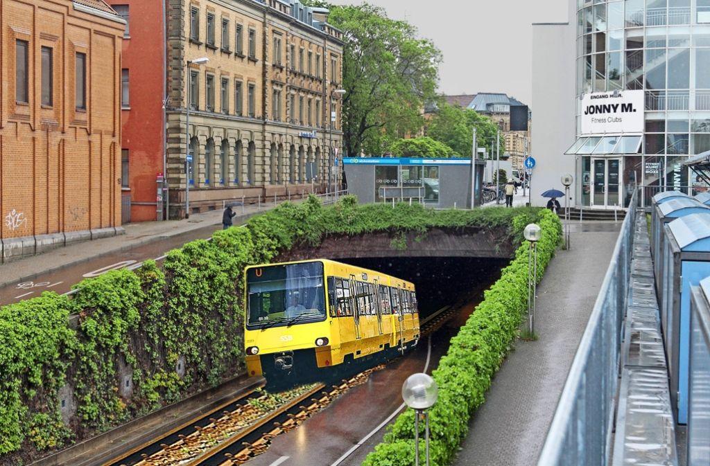 Eine SSB-Stadtbahn rollt durch den Ludwigsburger Bahnhofstunnel: Der Landrat kämpft für diese Idee – die Stadt sieht darin zunächst eine charmante Vision. Foto: factum; Montage: Schlösser