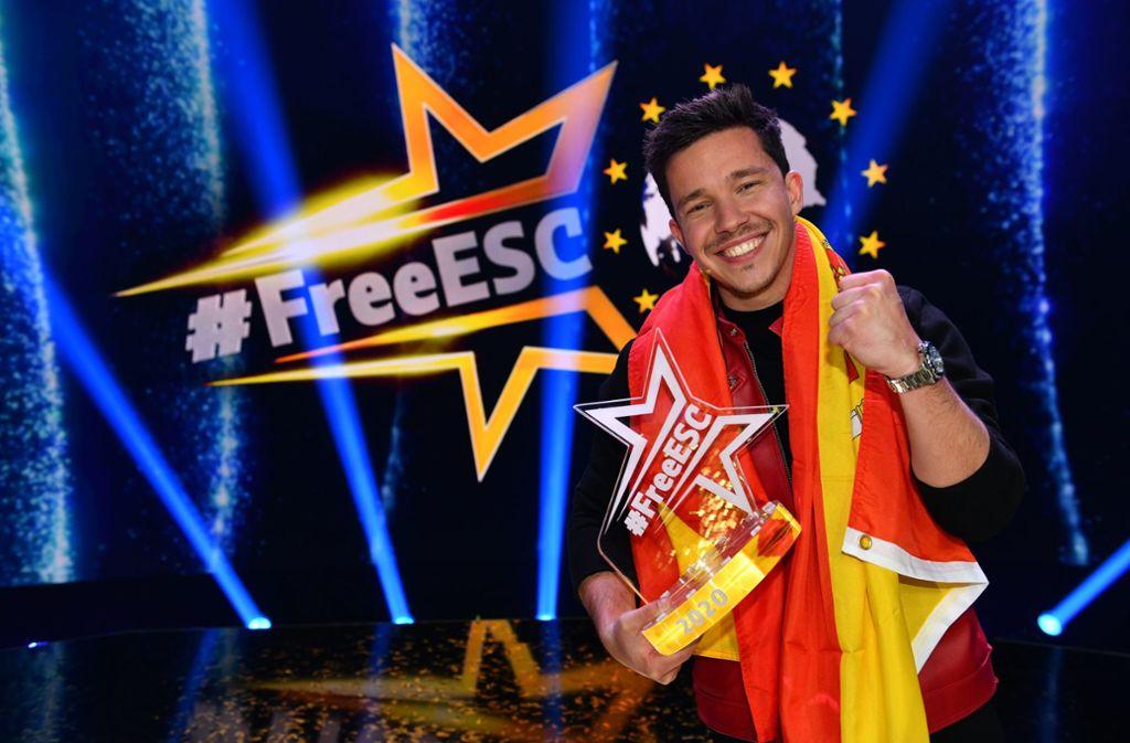 """Beim """"Free European Song Contest"""" auf ProSieben gewann Nico Santos für Spanien mit dem Lied """"Like i love you"""". Foto: dpa/Willi Weber"""
