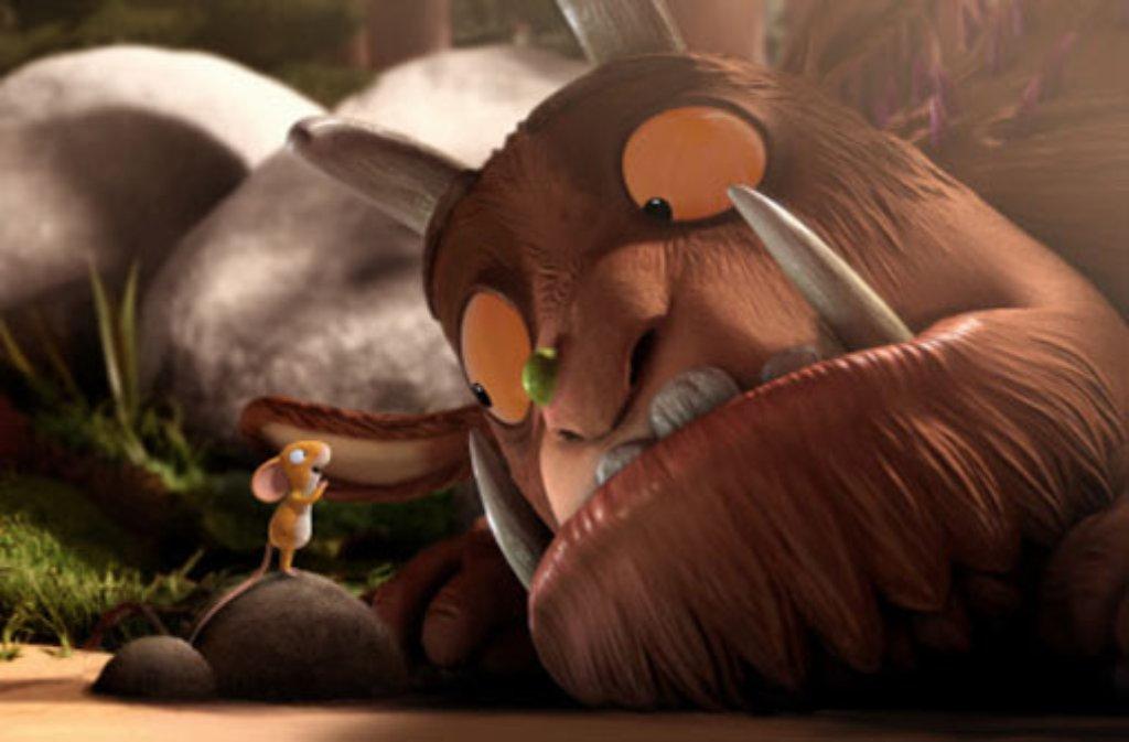 Der Grüffelo ist riesig, aber nicht der Hellste. Die Maus ist klein und clever. Aus dieser Kombination ergibt sich eine wundervolle Geschichte, die nun auch in bewegten Bildern erzählt wird. Foto: Studio Soi