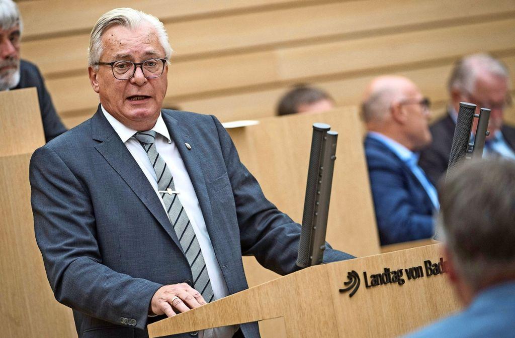 AfD-Fraktionschef Gögel bei einer Rede im Landtag im vergangenen Oktober. Foto: dpa