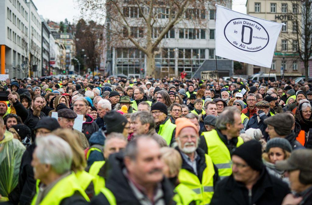 Demo gegen Dieselverbot in Stuttgart. Foto: dpa