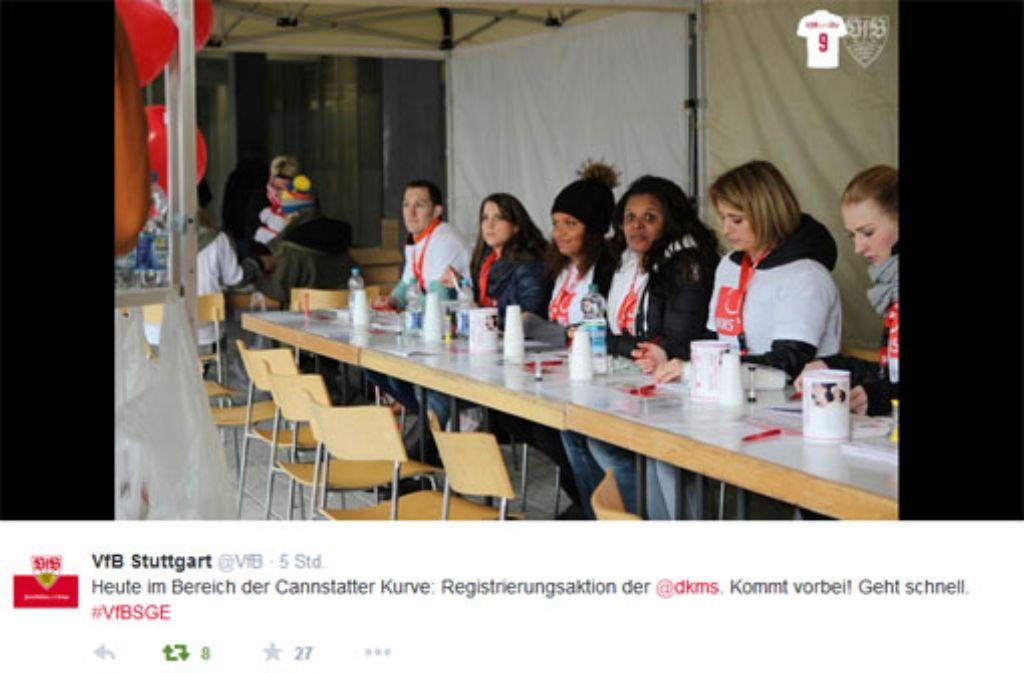 Der VfB Stuttgart unterstützt die Typisierungsaktion für Eva Fidler. Foto: twitter.com/vfb