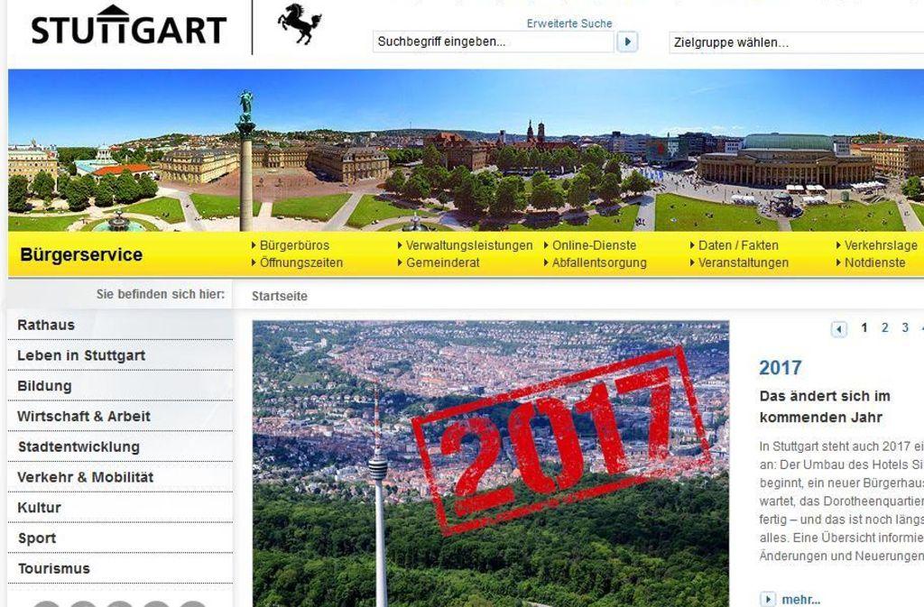 Dieser Internetauftritt der Landeshauptstadt genügt der CDU und der SPD im Gemeinderat nicht mehr. Foto: stzn