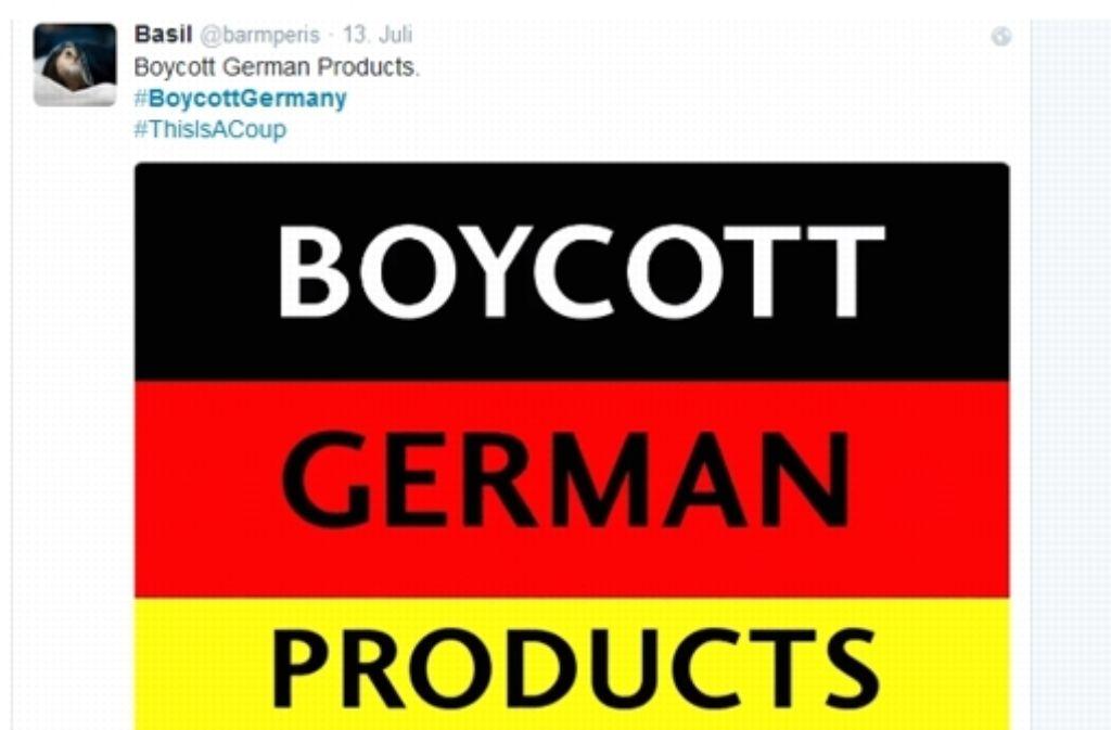 Um ihrer Kritik über die Griechenland-Poitik Nachdruck zu verleihen, rufen Twitterer unter  #Boykott Germany dazu auf, deutsche Produkte nicht mehr zu kaufen. Foto: Twitter-Nutzer @barmperis / Screenshot