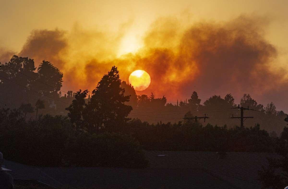 Innerhalb von wenigen Stunden wuchs sich ein Feuer in Orange County südlich von Los Angeles auf eine Fläche von umgerechnet mehr als acht Quadratkilometer aus. Foto: dpa/Mark Rightmire