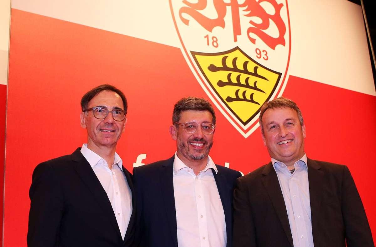 Das mittlerweile zerstrittene Präsidium des VfB Stuttgart: Bernd Gaiser, Claus Vogt, Rainer Mutschler (v. li.) Foto: Baumann