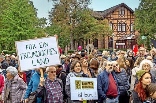 Bunter Protest gegen AfD-Veranstaltung