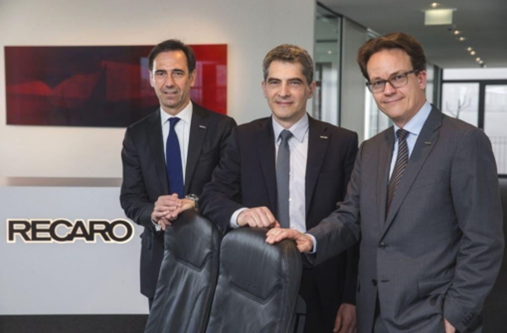Recaro-Eigner Martin Putsch (re.) und seine beiden Vorstandskollegen Bernd Gaiser (li.) und Hartmut Schürg wollen das Unternehmen künftig breiter aufstellen. Foto: Achim Zweygarth