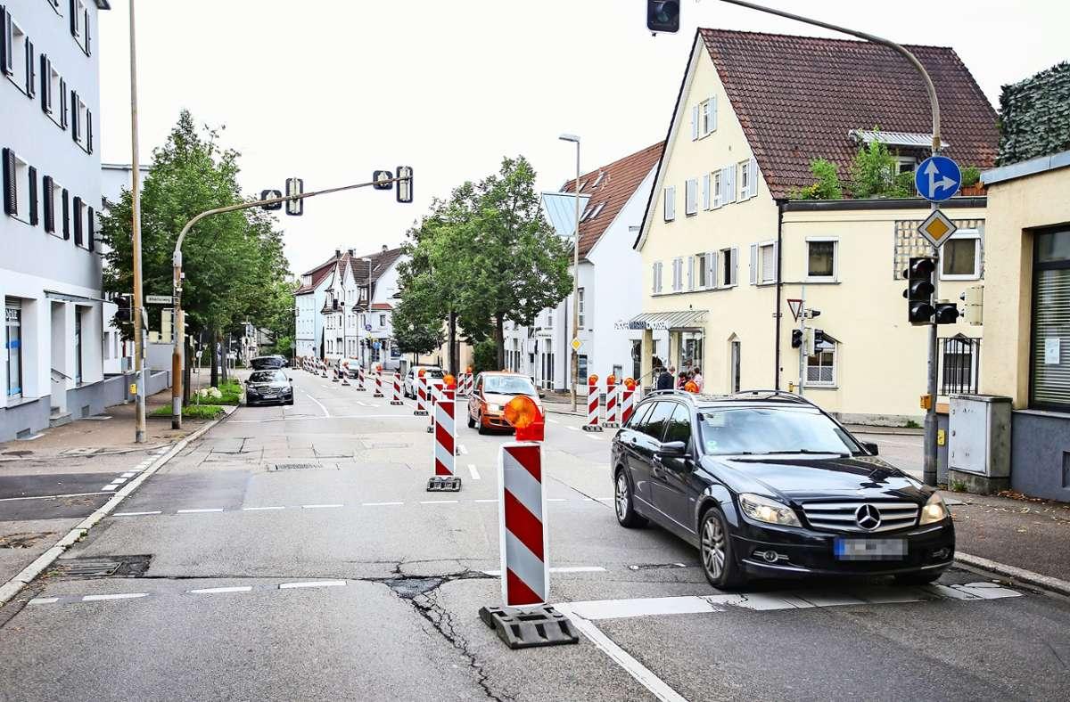 Baustelle Hirschlandstraße – kein Vergnügen für Autofahrer. Foto: Tom Weller