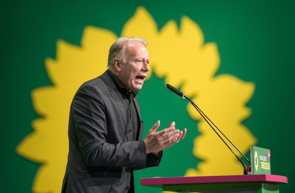Jürgen Trittin spricht auf dem Bundesparteitag der Grünen in Münster. Foto: dpa