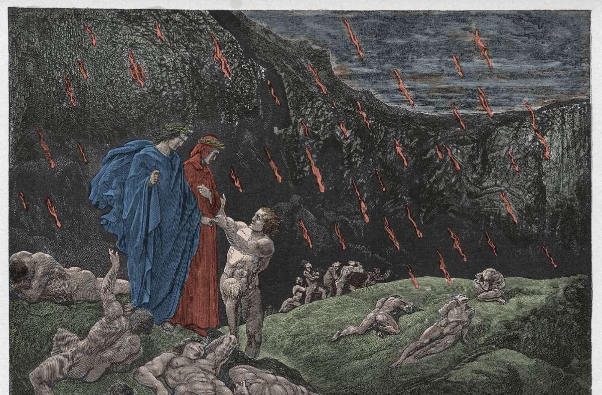Was Dantes ehemaliger Lehrer hier unten verlorenen hat, muss man die Kirche fragen. Illustration von Gustave Doré zum Canto 15 von Dantes Inferno. Foto: imago/Leemage/imago stock&people