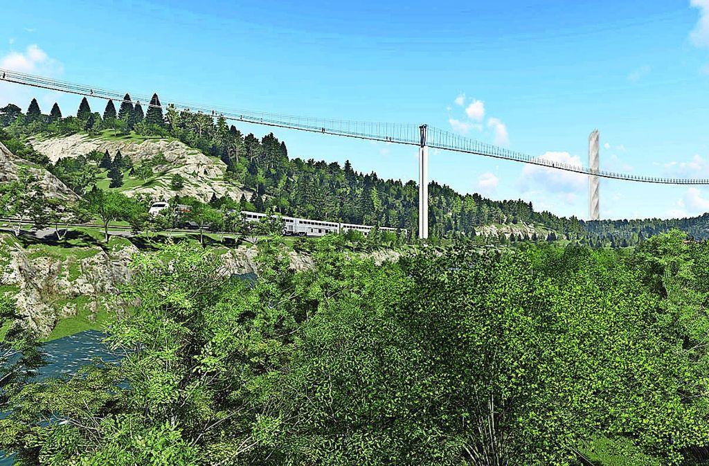Bald soll sich Europas längste Fußgänger-Hängebrücke über das Rottweiler Neckartal spannen. Grafik: KTS Innovations