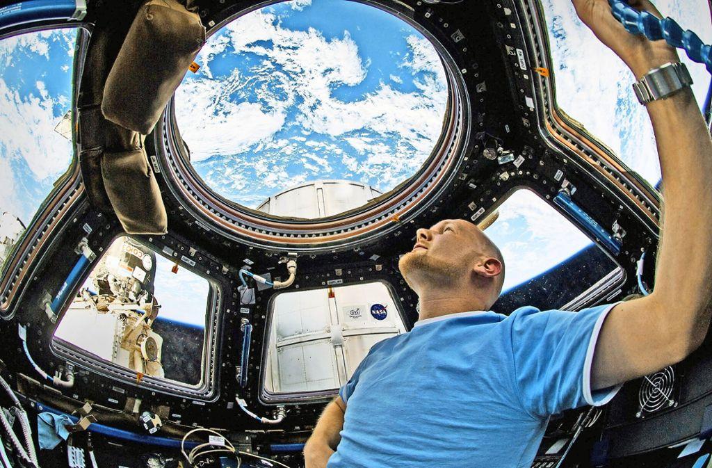 Der deutsche Astronau Alexander Gerst bei seinem letzten Aufenthalt im All im Juni 2014 Foto: dpa