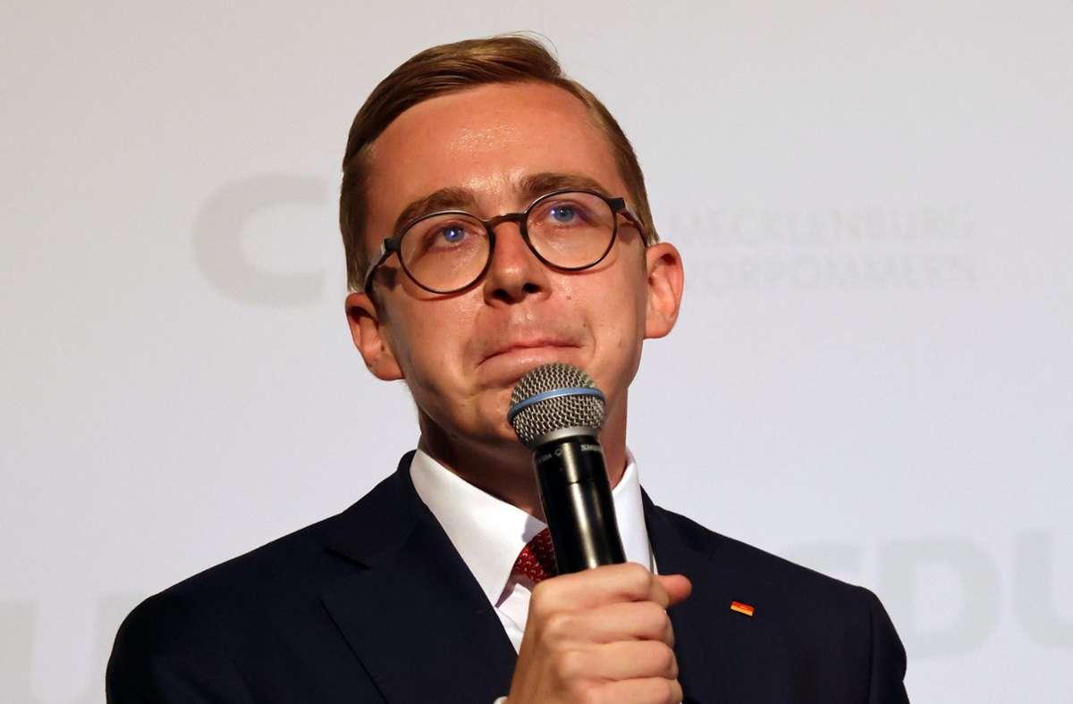Auch der CDU-Bundestagabgeordnete Philip Amthor verlor in seinem Wahlkreis in Mecklenburg-Vorpommern gegen den SPD-Politiker Erik von Malottki. Foto: dpa/Christian Charisius