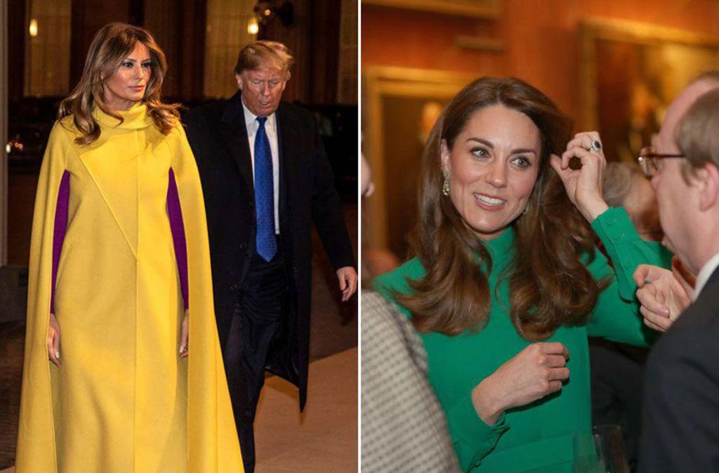 Zwei starke Auftritte beim Nato-Empfang im Buckingham Palace: US-First-Lady Melania Trump und die britische Herzogin Kate (rechts). Foto: AFP/YUI MOK